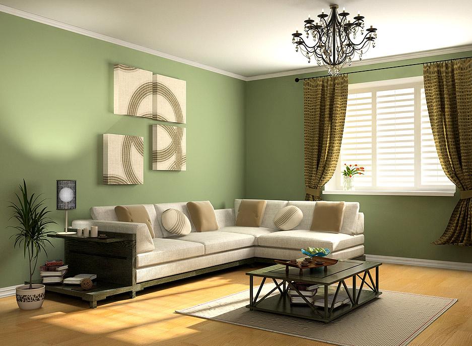 Дизайн зеленой гостиной фото